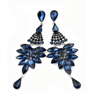 E-3573 Bohemian Silver Plated Alloy Rpyalblue Amethyst Crystal Drop Tassel Wedding Chandelier Earrings