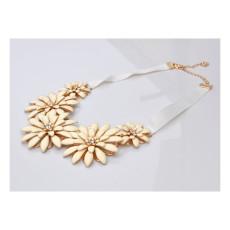 N-5791 New Luxury Brand White Ribbon Chain Candy Resin Rhinestone Sunflower Choker Bib Necklace