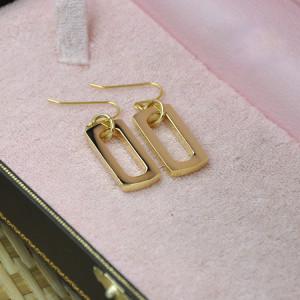 E-3575 New Fashion Vintage Alloy Goldplated Strip Earrings Shine Woman Stud Earrings