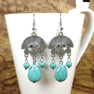 E-3576 Bohemian Style Silver Plated sector carving thread turquoise beads dangle earrings