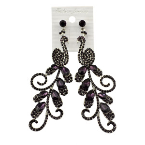 E-3589 New Arrival Fashion Silver Plated Charm Clear Blue Crystal Peacock Long Drop Earrings for Women Jewelry