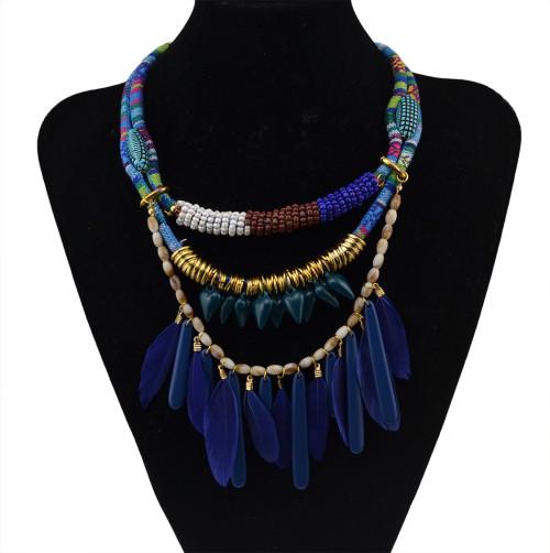 N-5784 Bohemian style handmade braid blue rope chain resin heart beads feather tassel choker bib collar statement necklace