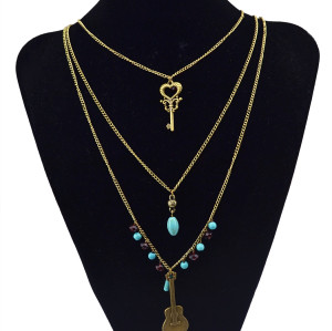 N-5785 New Fashion European Multilayer Retro Bronze Keys Guitar Pendant Necklace