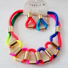 N-5795 European knitting multicolour necklace fashion jewelry fashion simple geometric choker bib necklace earrings set