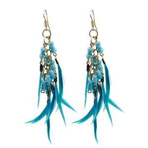 E-3581 bohemian style resin beads feather tassel long dangle earrings for women jewelry