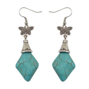 E-3580 Bohemian Style Turquoise Beads Silver Plated Heart Shape Dangle Earrings