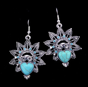 E-3592 Bohemian Style Vintage Silver Plated Turquoise Stone Heart Big Flower Dangle Earrings for Women Jewelry