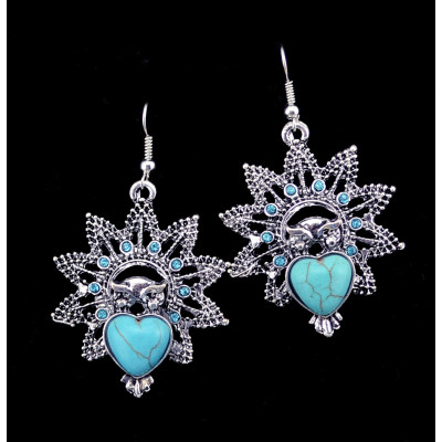 E-3592 Bohemian Style Vintage Silver Plated Turquoise Stone Heart Big Flower Dangle Earrings for Women Jewelry