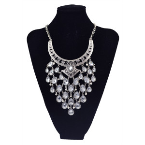 N-5802 European style crescent moon shape chunky chain multi crystal drop tassel collar statement necklace