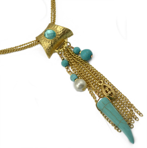 N-5797 Bohemian Style Silver Plated Rhinestone Turquoise Beads  Metal Muti-layer  Chains Tassel Pendant Necklace