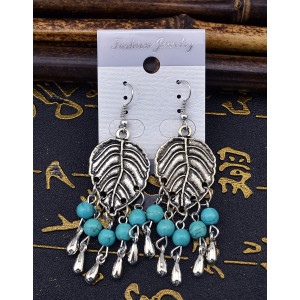 E-3593 Bohemian Style Vintage Silver Plated Turquoise beads wide leaf Dangle earrings