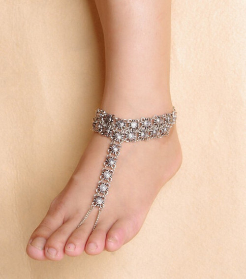 B-0595 New Design Gypsy Antique Silver Hollow Flower Turkish Coin Anklet Bracelet Beach Foot Jewelry