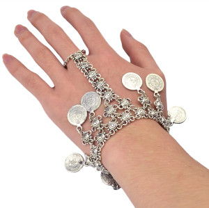 B-0592 New Silver Coin Bracelet Adjustable Handmade Floral Boho Gypsy Beachy Ethnic Bracelet With Ring Jewelry