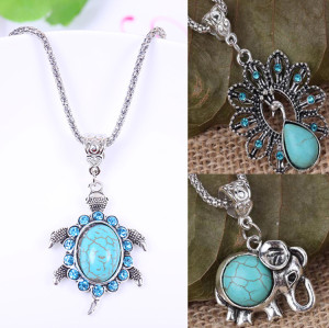 N-5749 New design Fashion Lovely Sliver Plated Turquoise Blue Rhinestone Tortoise Elephant Peacock Pendant Necklace Jewelry for Women