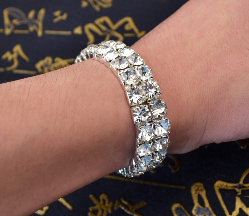 B-0593 New Arrival European Fashion Silver Plated Crystal Adjustable Bracelet