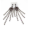 E-3596 New Fashion Bohemian Silver Plated Alloy   Crystal  Beads Tassel Long   Earrings For Women Jewelry