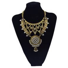 N-5805 European fashion alloy plated thread metal pendant multi chain crystal collar choker necklace