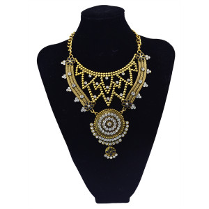 N-5805 European fashion alloy plated thread metal pendant multi chain crystal collar choker necklace