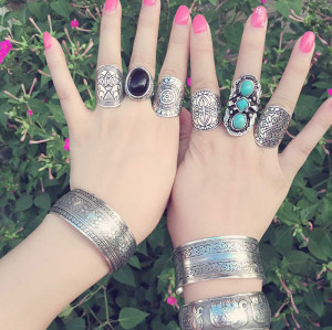 R-1259 New Fashion Vintage Silver Plated Carved Flower Finger Rings For Women Jewelry