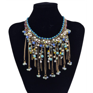 N-5809 Bohemian Luxury Gold Plated Handmade Pearl Rhinestone Long Tassel Colorful Beads Choker Statement Necklaces for Women