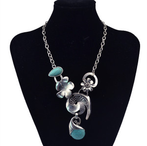N-5810 Fashion tibet silver chian moon shape drop turquoise drop tassel chunky layered long necklace