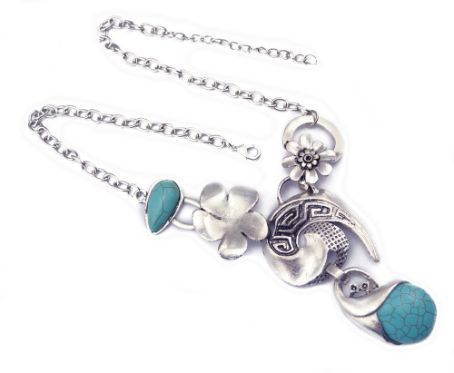 N-5810 Fashion tibet silver chian moon shape drop turquoise drop tassel chunky layered long necklace