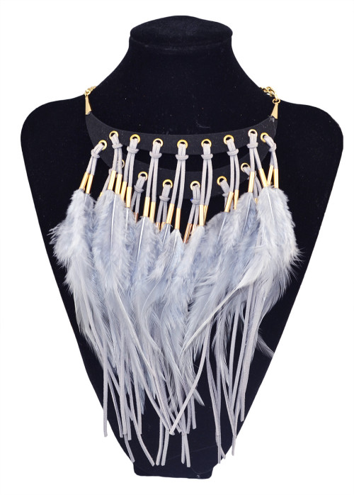 N-5806 Indian Design Charm Exaggerated Jewelry Precious  Feather Necklaces & Pendants Women Glam Feather Chain Statement Necklaces