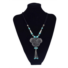 N-5812 Bohemian Style vintage Silver Plated rope chain Natural Turquoise butterfly Pendant Necklace