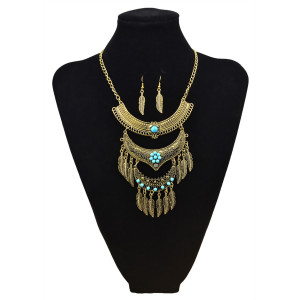 N-5807 Bohemian Vintage Jewelry Gold Silver Plated Carving Flower Turquoise Bead Leaf Tassel Pendant Necklace Earrings Set for Women
