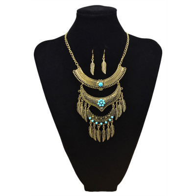 N-5807-G Bohemian Vintage Jewelry Gold Silver Plated Carving Flower Turquoise Bead Leaf Tassel Pendant Necklace Earrings Set for Women