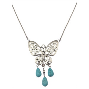 N-5813 Tibetan Style Alloy Turquoise Butterfly Pendants necklaces Antique Silver plated Chain Necklace
