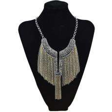 N-5808 European style silver gold plated angle wing shape rhinestone metal tassel choker bib necklace