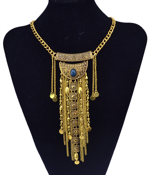 N-5822 Bohemian Style Vintage Silver Goldplated Alloy Necklace Long Tassel Chains Collar Necklace Jewelry
