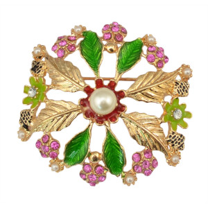 P-0199 New design fashion golden plated alloy crystal &Artificial pearl leaf shape Brooch flower brooch for women jewelry
