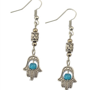 E-3601 ew Fashion Silver Plated Blue Beads Hand Of Fatima Dangle Earrings For Women