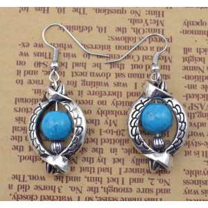 E-3600 New Arrival Bohemia Fashion Popular Silver Plated Beads Dangling Charm Earrings
