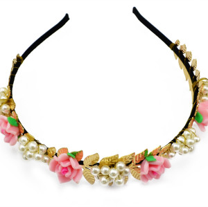 F-0283 Fashion New Wedding Hairband Gold Plated Charms Pink Flower Pearl Hair Bridal Accessory Jewelry for Woman Girls Gift