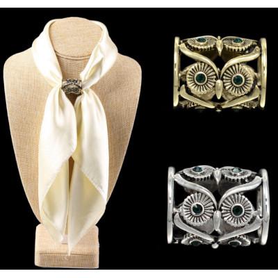 R-1253 New arrival Gold silver plated rhinestone owl eyes shape ringlike scarves buckle