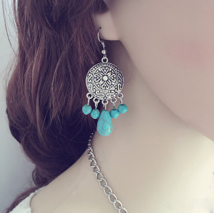 E-3598 New Fashion Bohemian Style Vintage Silver Plated Carving Flower Natural Turquoise Beads Dangling Earrings for Women