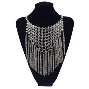 N-5827 New fashion Bohemian style silver alloy flower long chains tassel bib statement necklace for women jewelry