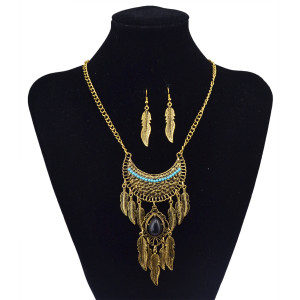 N-5830 Vintage Gold Silver Plated Black Natural Turquoise Bead Leaf Long Tassel Pendant Necklace Earrings Jewelry Set