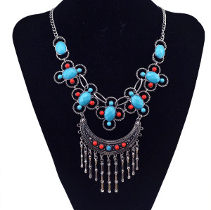 N-5826 Bohemian Style Silver plated colorful rhinestone beads moon shape pendant tassel necklace