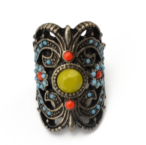 R-1264 European Style Vintage  Silver Alloy Hollow Out Inlay Resin Beads Knuckle Ring For Women Jewelry
