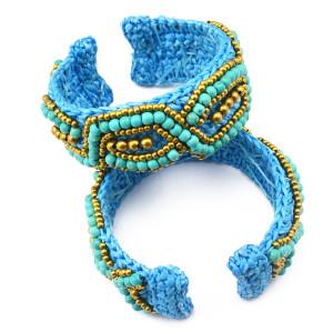 B-0604 Bohemian vintage style wide boho seed blue beads handmade braid women cuff bracelets bagles