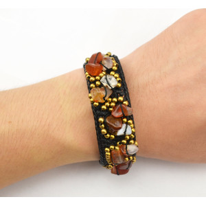 B-0605 New Fashion Bohemian Style Natural Turquoise Beads Braided Rope Cuff Bracelets for Women Jewelry