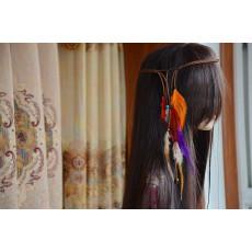 F-0279 New Arrival Handmade Braid Leather  Chain Beads Feather Tassel Hair Band Hair Accessory