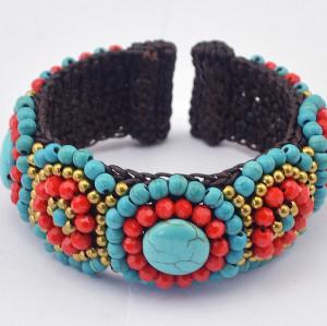B-0608 Bohemian Boho Ethnic Style Colorful beads Turquoise beads Handmade Braid Wide Rope Women Cuff Bracelet