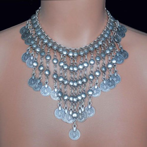 N-5831 New fashion Bohemian style silver plated tassel chain coin carving bib statement necklace adjustable for women