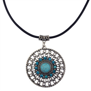 N-5832 Handmade black rope chain choker necklaces big round turquoise crystal charms pendants necklace womens jewelry