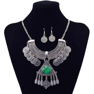 N-5835 New Arrival Retro Silver Plated Triangle Pendant Inlay Gemstone Coin Tassel Neckalce Earrings Set